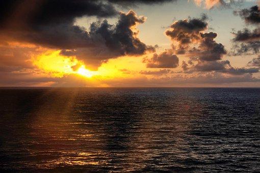 Sunset, Sea, Ocean, Sun, Water, Dusk, Twilight, Clouds