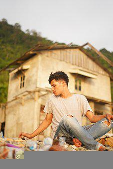 Sunset, Man, Sitting, Beach, Travel, Indonesian
