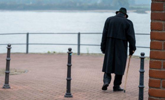 River, Senior, Walking Stick, Coat, Hat, Relaxation
