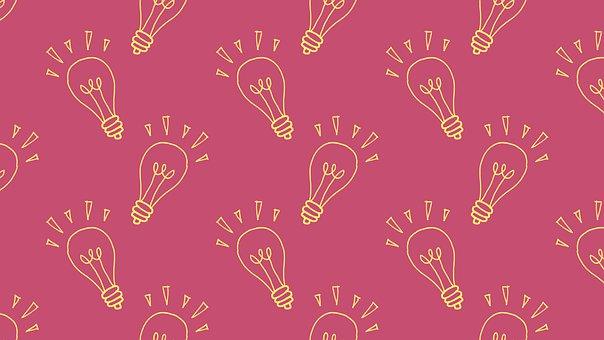 Light Bulb, Doodle, Background, Pattern, Wallpaper