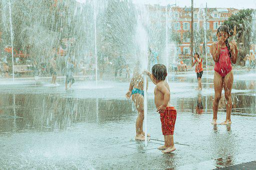 Fountain, People, Children, Bathing, Water Fountain