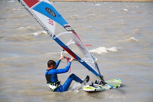 Surf, Wind Surfing, Surfboard, Sail, Lake Neusiedl