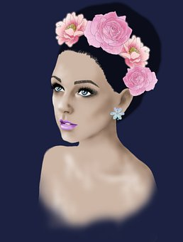 Woman, Flowers, Bust, Head, Face, Floral Crown