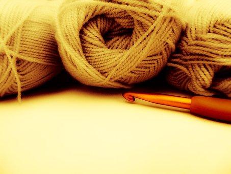 Wool, Yarn, Hook, Yellow Yarn, Knitting, Crochet
