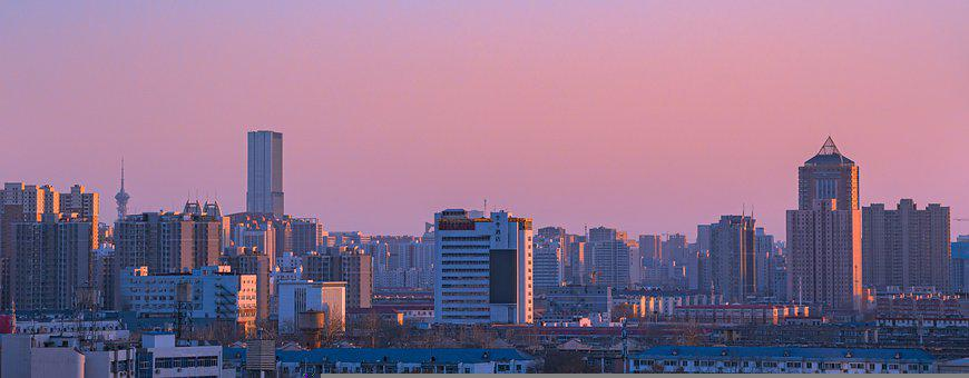 City, At Dusk, Sunset