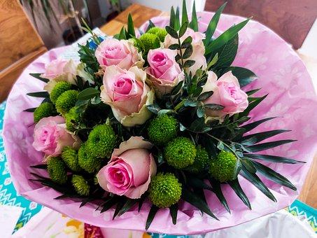 Flowers, Bouquet, Roses, Centerpiece