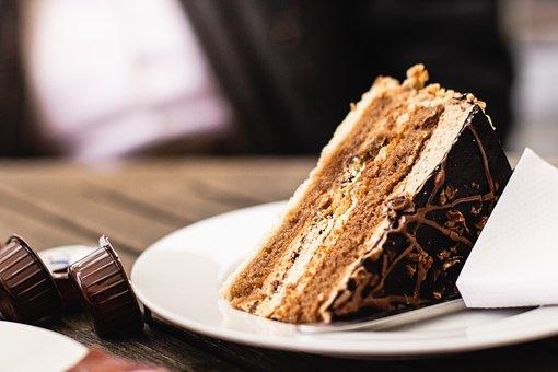 Cake, Chocolate, Slice, Dessert, Coffee, Table, Sweet