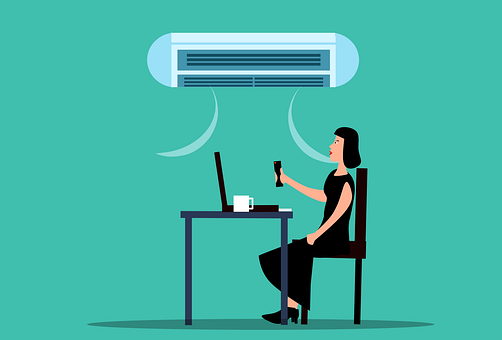 Woman, Air Conditioning, Cold, Temperature, Office