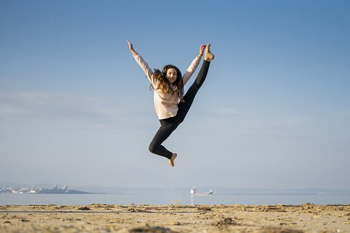 Girl, Jump, Happy, Dance, Sea, Beach, Fun, Model
