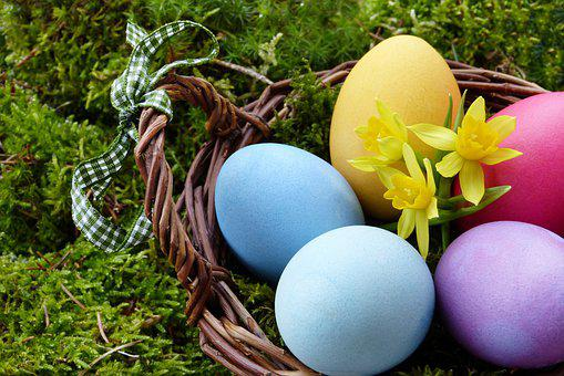 Easter, Easter Eggs, Basket, Moss, Easter Nest