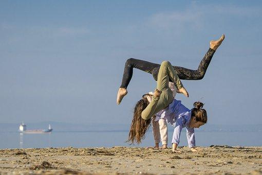 Girls, Friends, Beach, Happy, Dance, Jump, Freedom