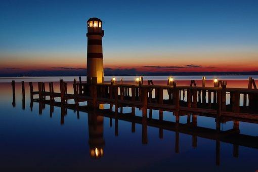 Lighthouse, Abendstimmung, Lake, Red, Web, Sky, Sunset