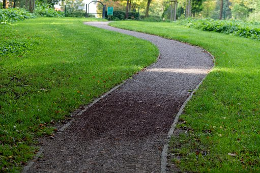 Lawn, Grass, Path, Walkway, Field, Landscape, Garden