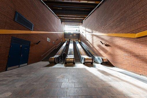 Escalators, Stairs, Station, Metro, Platform