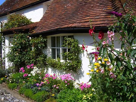 Cottage, House, Flowers, Garden, Old English Cottage