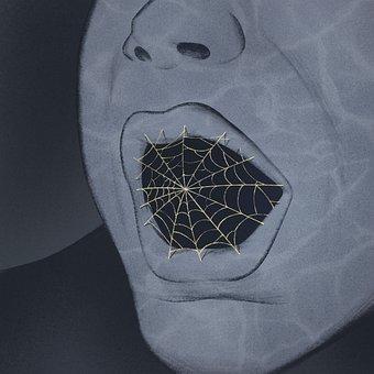 Mouth, Spiderweb, Cobweb, Scream, Person, Surrealism