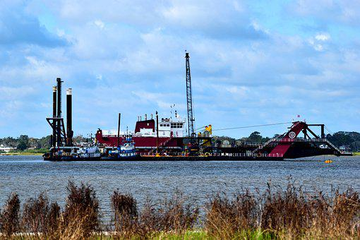 River, Building, Crane, Construction, Barge, Dredging