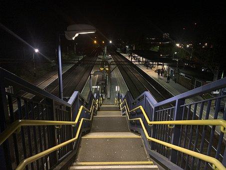 Station, Stairs, Railway, Urban, Handrails, Railing