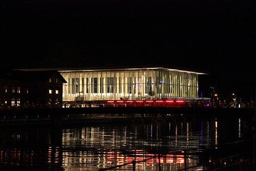 Halmstad, Night, Sweden, Lights, City, Scandinavia
