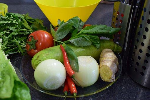 Food, Vegetables, Salad, Onion, Tomato, Pepper