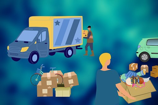 Removal, Truck, Van, Boxes, People, Carry, Package