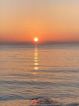 Sunset, Sea, Horizon, Ocean, Dusk, Twilight, Sun