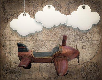 Digital Background, Vintage, Plane, Clouds