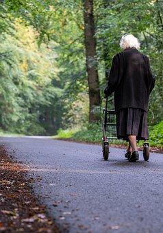 Old Lady, Rollator, Road, Walking, Walk, Walker