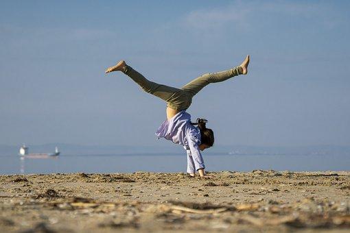 Girl, Yoga, Flexibility, Happy, Beach, Dance, Jump