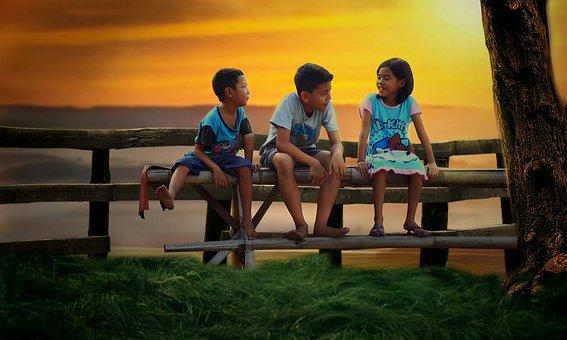Anak, Bangku, Pagar, Senja, Matahari, Sedang Duduk