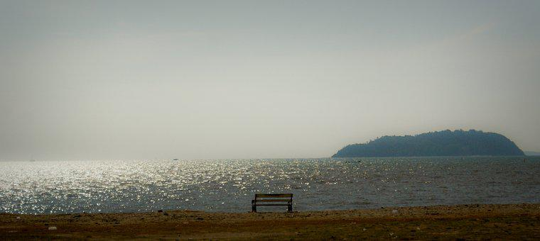 Bench, Beach, Sea, Tranquility, Horizon, Nature