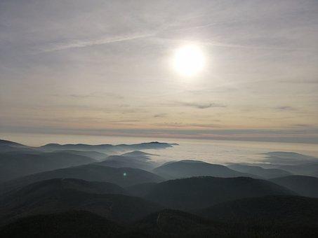 Tar Stone, Beech, Hungary, Nature, Fog, Forest, Sun