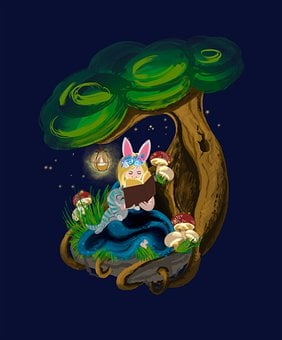 Girl, Under A Tree, Reading, Book, Kitten, Little Girl
