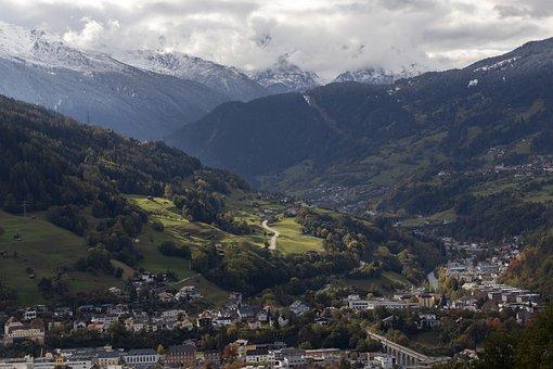 Landeck, Cloudy, Tyrol, City, Alps, Village, Buildings