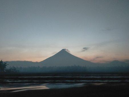 Mayon, Volcano, Dusk, Sunset, Dark, Philippines