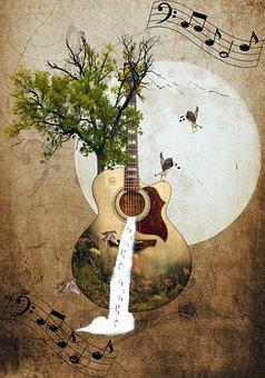 Guitar, Trees, Instrument, Fantasy, Waterfall