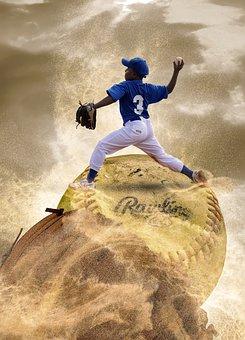 Boy, Pitcher, Glove, Baseball, Player, Sand, Fantasy