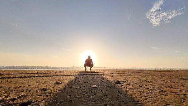Sunset, Sun, Sitting, Sky, Man