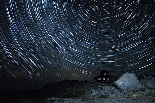 Stars, Night, Startrail, Space, Galaxy, Sky, Universe