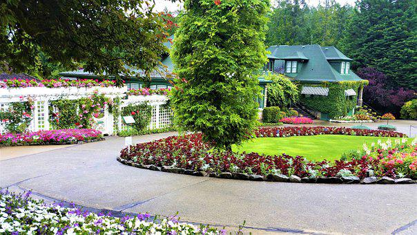 Garden, Driveway, Tree, Flowers, Yard, Building, Spring