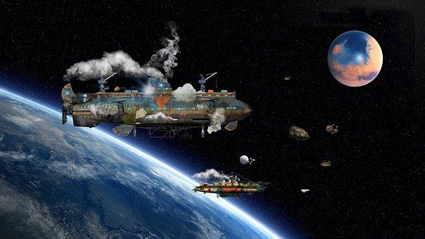 Airship, Aether Ship, Steampunk, Roysnyder, Illustrator