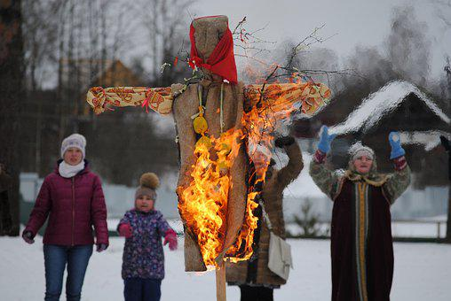 Carnival, Scarecrow, Fire, Winter, People
