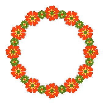 Flower, Frame, Circle, Round, Border, Floral