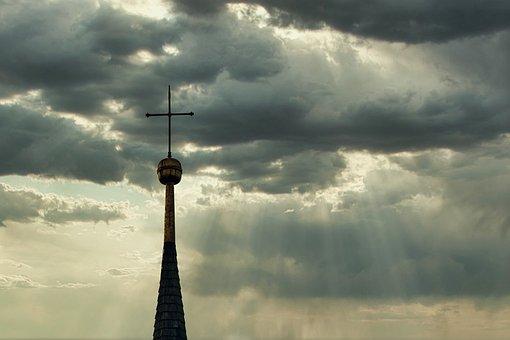 Steeple, Great, Cross, Sky, Clouds, Sunlight, Sunbeam