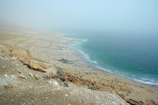 Shore, Dead Sea, Jordan, Salt, Desert, Side, Sky, Blue