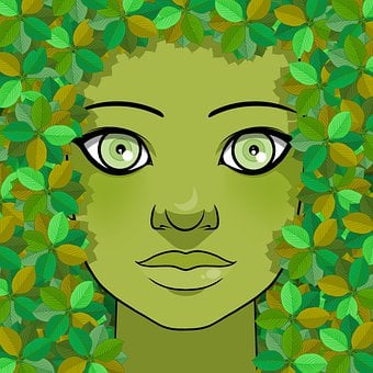 Girl, Dryad, Leaves, Face, Character, Spring, Allegory