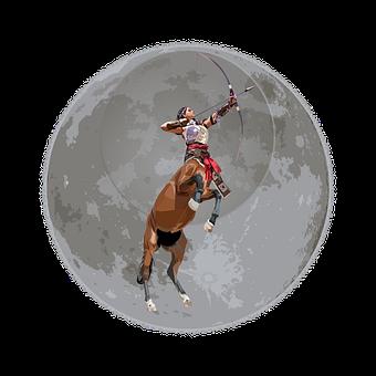 Woman, Archer, Horse, Moon, Arc, Fantasy, Warrior