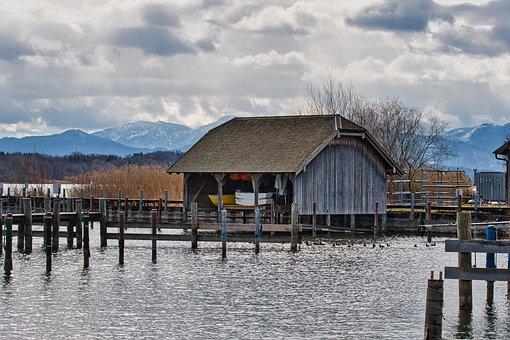 Boathouse, Lake, Jetty, House, Shelter, Building, Bank