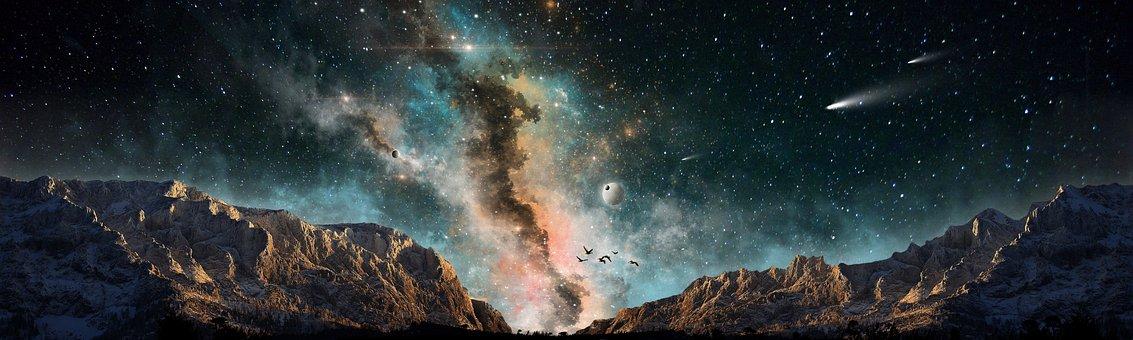Mountains, Sky, Landscape, Nature, Stars, Nebula