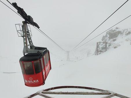 Cable Car, Winter, Snow, Mountains, Cold, Fagaras